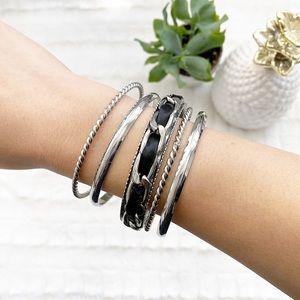 Silver Bangle Stackable Bracelet Set